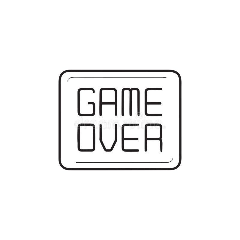 Gioco sopra l'icona disegnata a mano di scarabocchio del profilo del messaggio illustrazione vettoriale