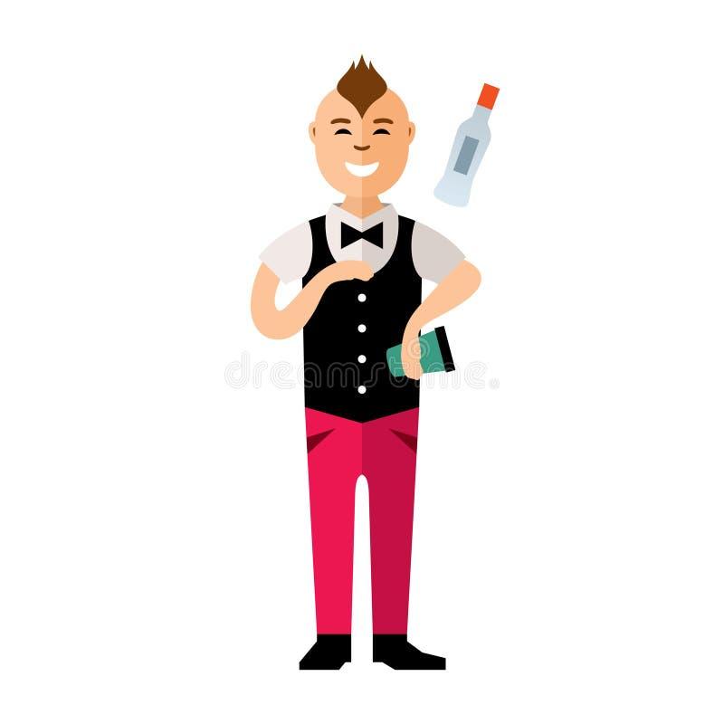 Giocoliere del barista di vettore Cocktail del virtuoso alla barra illustrazione vettoriale