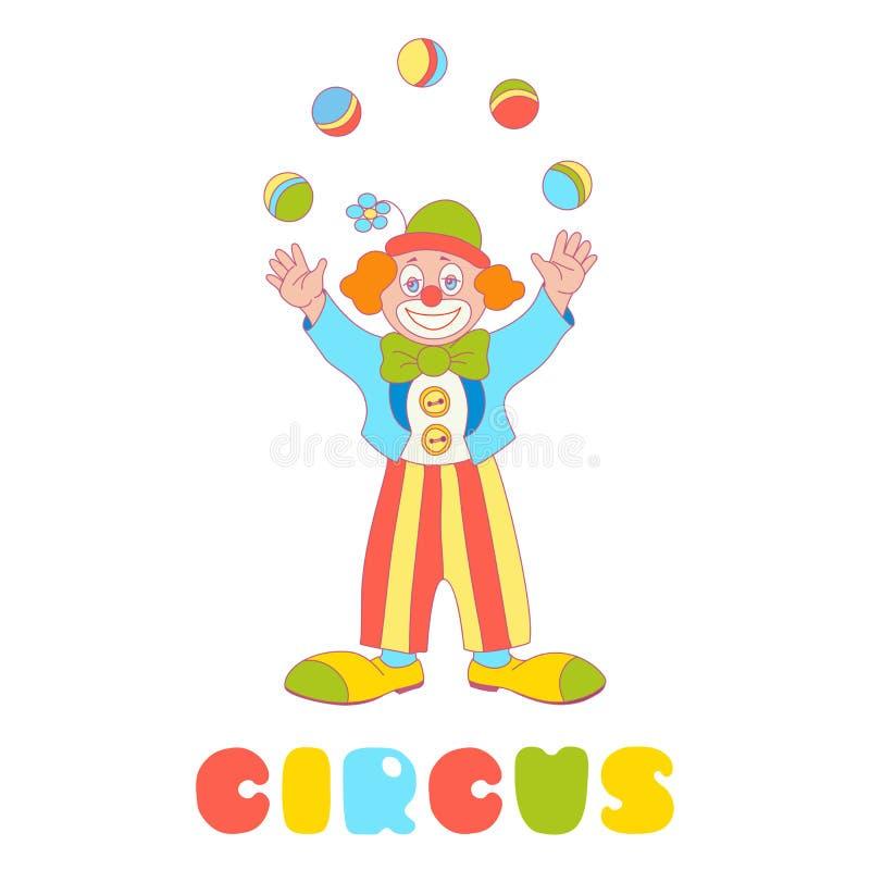 Giocoliere del pagliaccio di vettore del circo isolate sul bianco illustrazione di stock