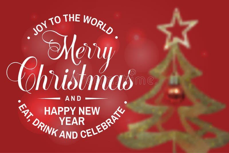 Gioia al mondo Bollo del buon anno e di Buon Natale, autoadesivo Illustrazione di vettore illustrazione vettoriale