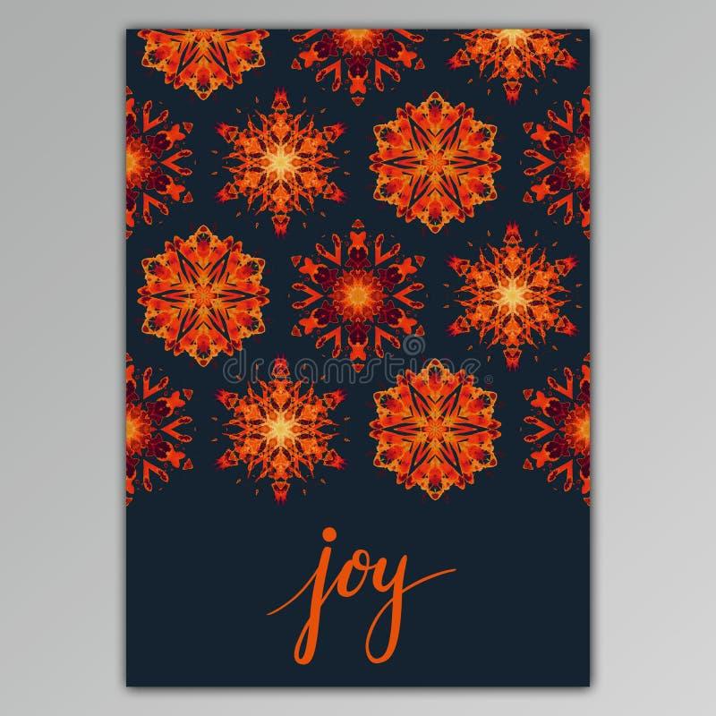 gioia Cartolina d'auguri con i fiocchi di neve dell'acquerello di dolore della mano illustrazione di stock
