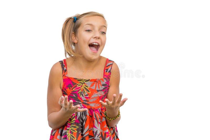 Gioia delle emozioni emozionanti del bambino fotografia stock libera da diritti