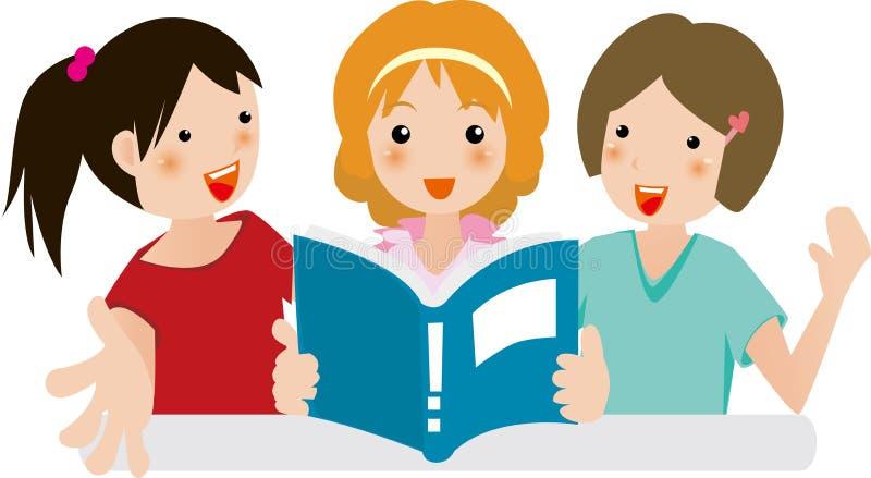 Gioia delle ragazze nella lettura illustrazione di stock