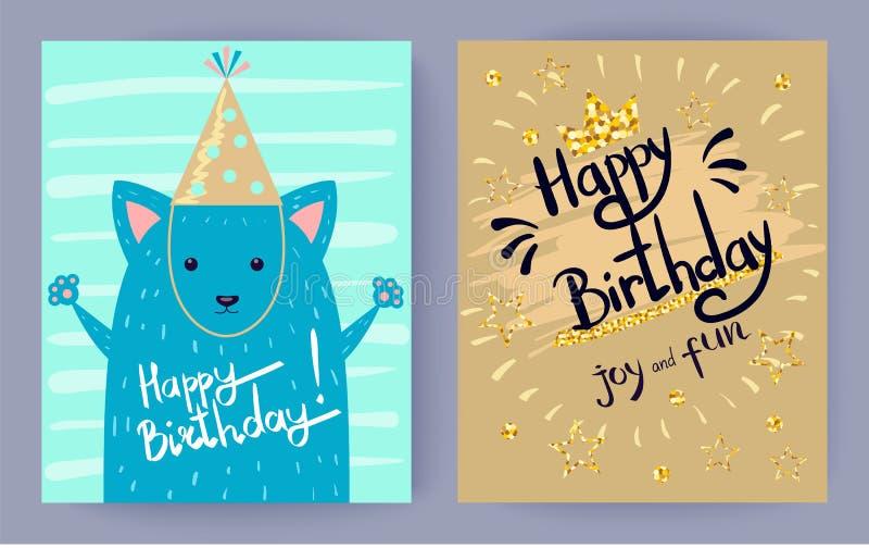 Gioia di buon compleanno ed illustrazione di vettore di divertimento illustrazione di stock