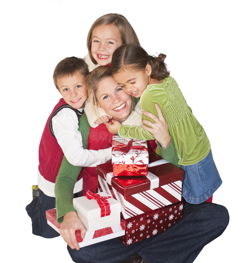 Gioia di natale con la mamma e la famiglia fotografia stock libera da diritti
