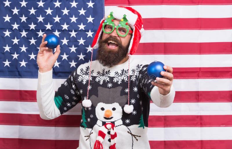 Gioia Saluti d'inverno Divertiti Idiota allegra Grande Natale americano Felice bandiera americana santa immagine stock libera da diritti