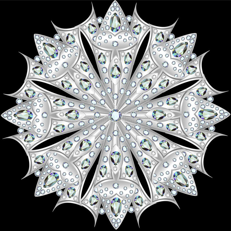 Gioielli della fibula della mandala, elemento di progettazione con le pietre preziose geo illustrazione di stock