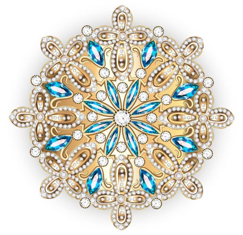 Gioielli della fibula della mandala, elemento di progettazione Ornam d'annata geometrico illustrazione vettoriale