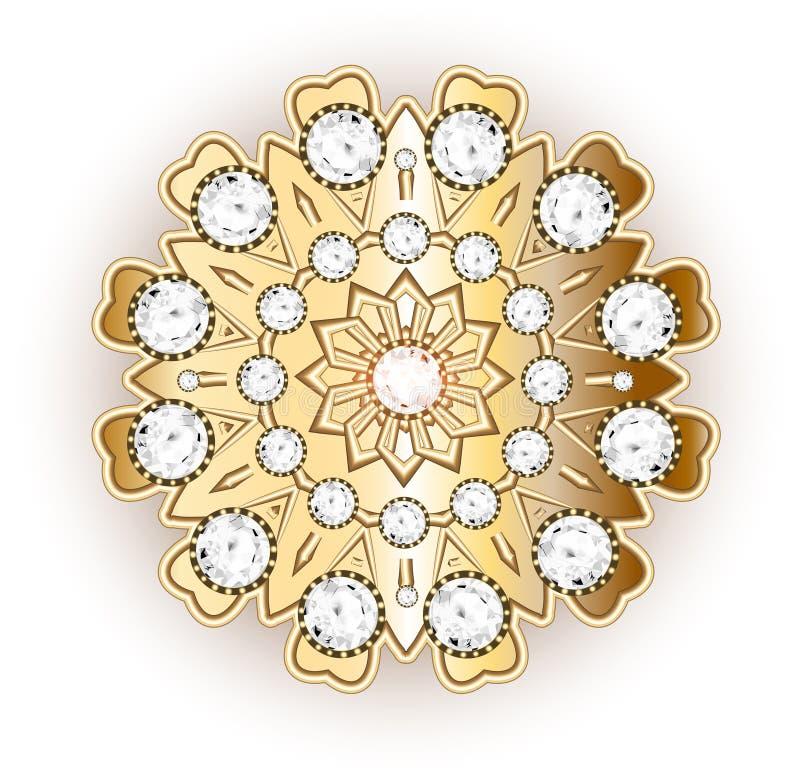 Gioielli della fibula della mandala, elemento di progettazione Picchiettio floreale etnico tribale illustrazione vettoriale