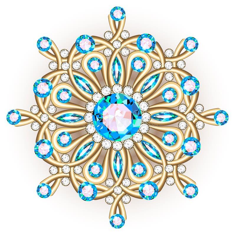 Gioielli della fibula della mandala, elemento di progettazione Picchiettio floreale etnico tribale illustrazione di stock