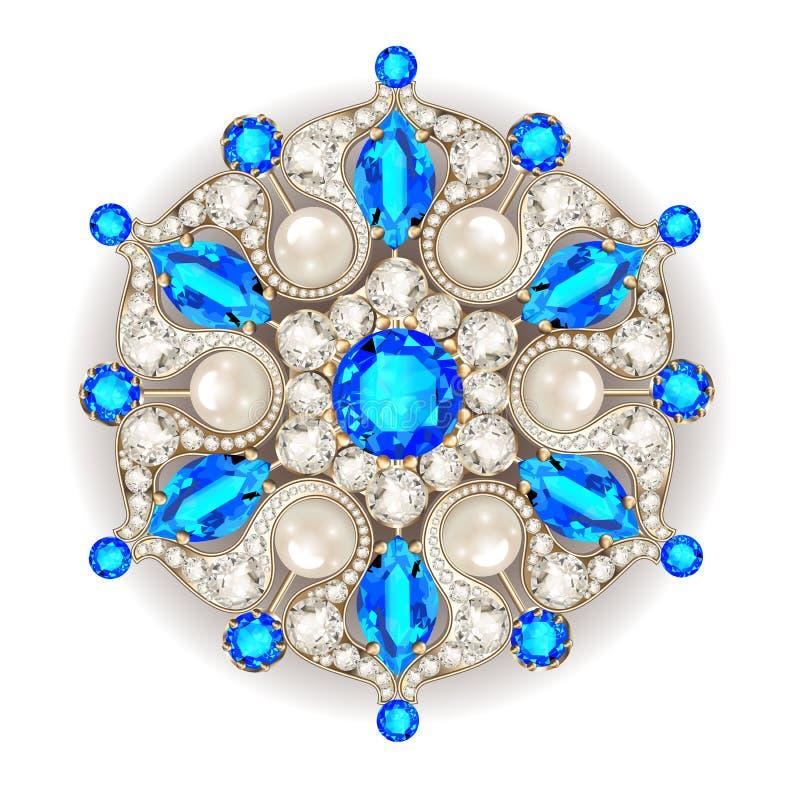 Gioielli della fibula della mandala, ornam d'annata geometrico illustrazione vettoriale