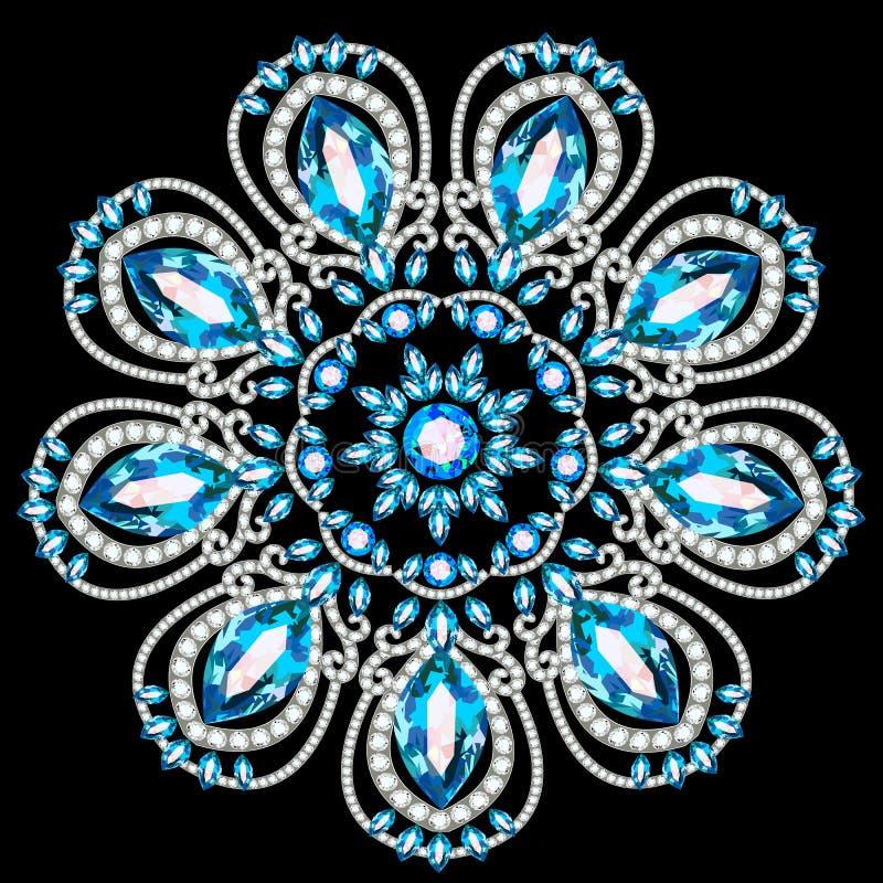 Gioielli della fibula, elemento di progettazione Fondo ornamentale d'annata geometrico royalty illustrazione gratis