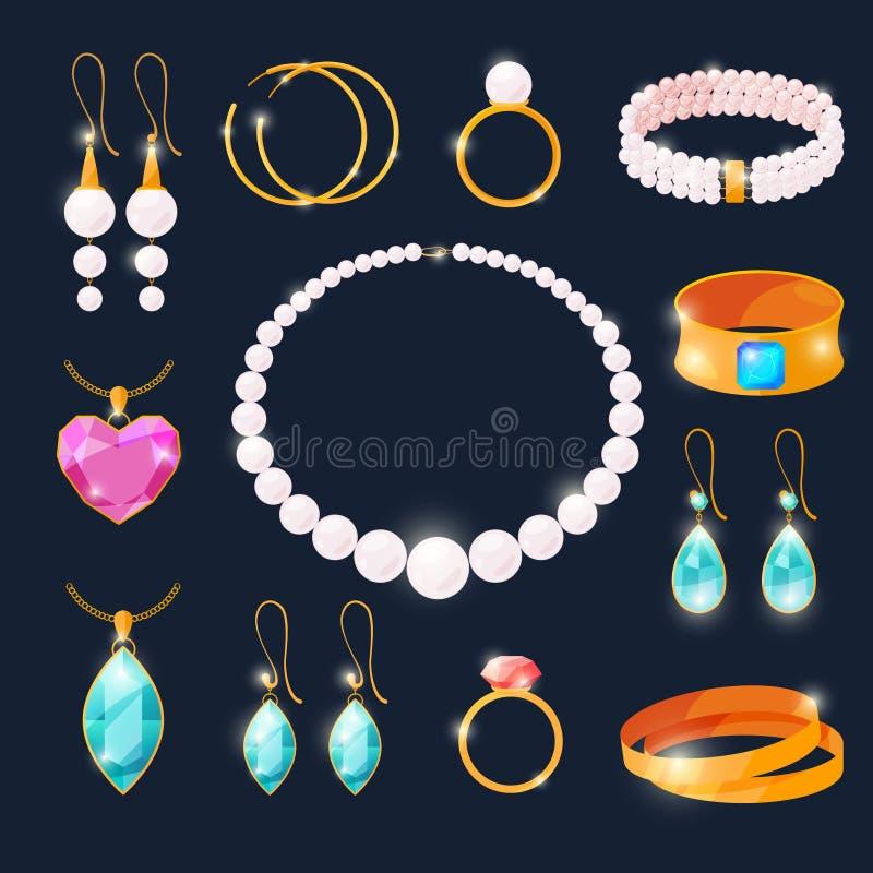 Gioielli di lusso messi Anelli con i diamanti ed altri gioielli Illustrazioni di vettore nello stile del fumetto illustrazione di stock