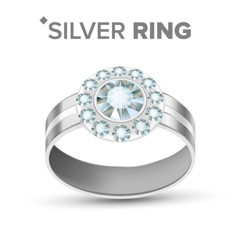 Gioielli femminili Diamond Silver Ring Vector di modo illustrazione di stock