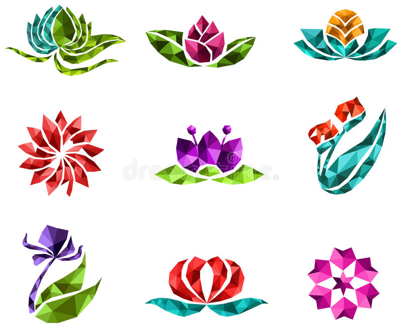 gioielli geometrici del poligono 3D della flora di cristallo creativa Unione Sovietica del fiore royalty illustrazione gratis