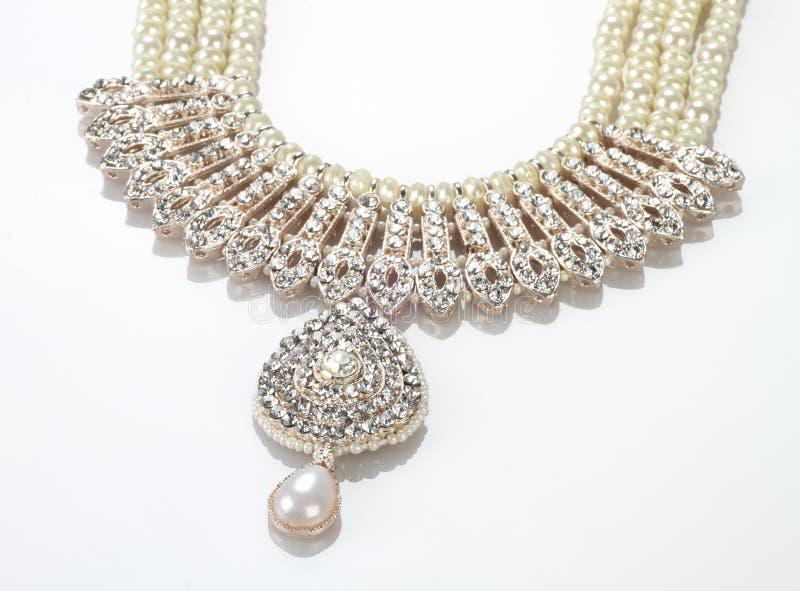 Gioielli indiani complessi moderni Diamond Necklace fotografia stock