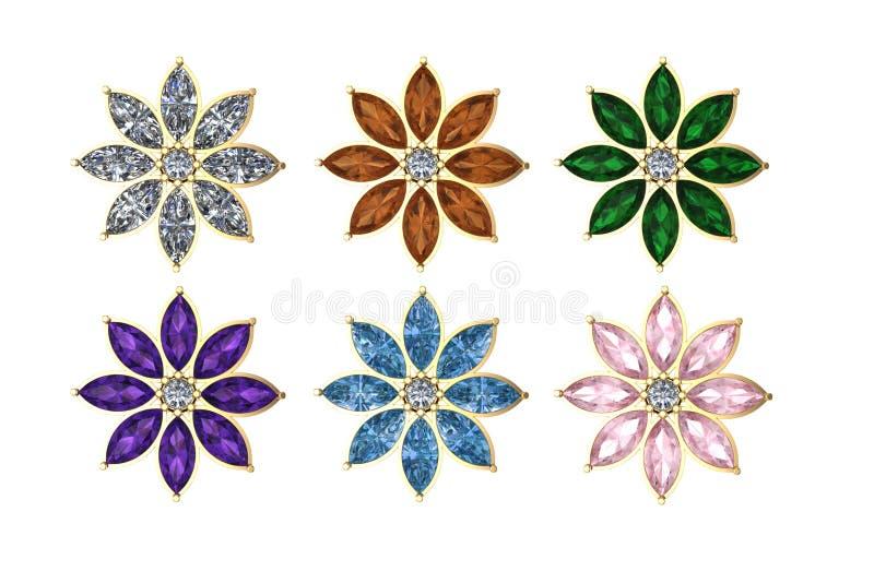 Gioielli isolati del fiore 3d su fondo bianco royalty illustrazione gratis