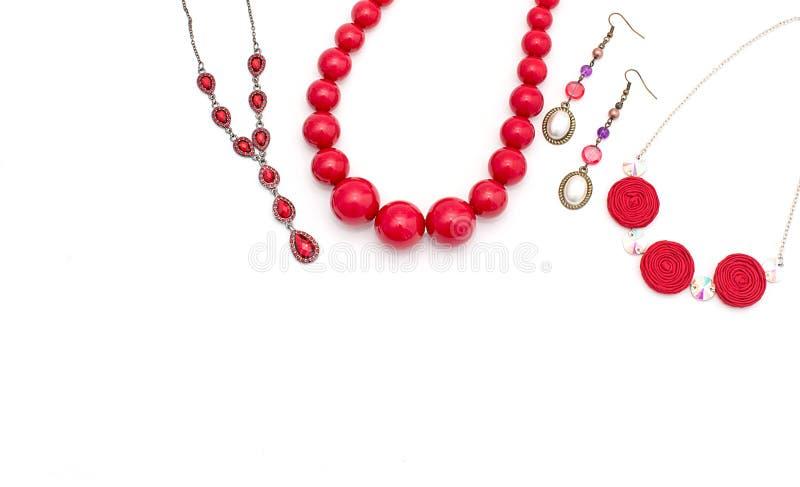 Gioielli per le donne Rosso della collana fotografie stock libere da diritti