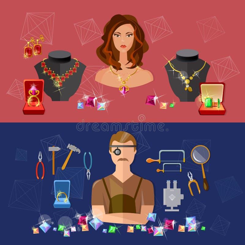Gioielliere delle pietre preziose di vendita delle insegne dei gioielli in posto di lavoro illustrazione vettoriale