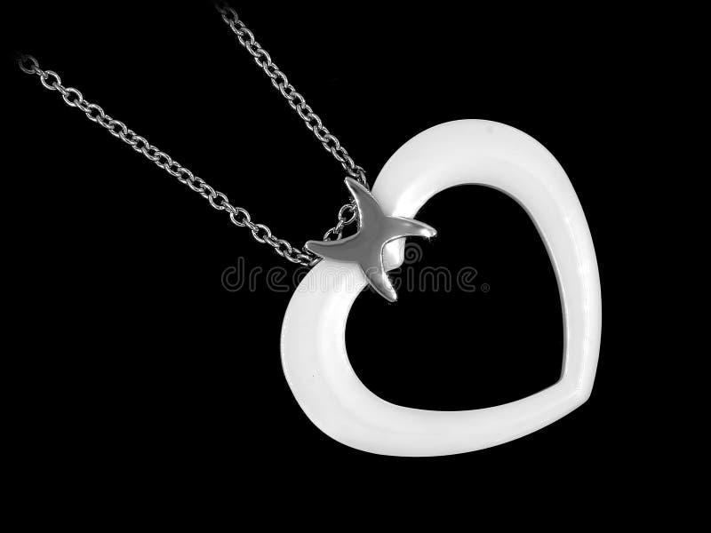 Gioiello d'argento Collana del cuore Acciaio inossidabile immagini stock