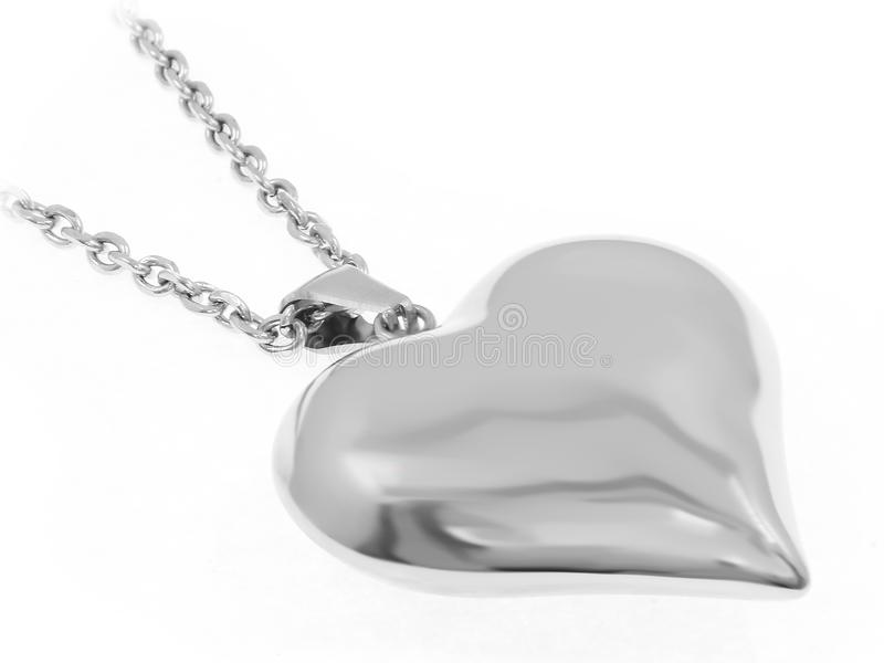 Gioiello d'argento Collana del cuore Acciaio inossidabile immagini stock libere da diritti