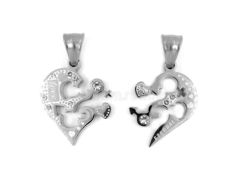 Gioiello d'argento Collana del cuore Acciaio inossidabile fotografia stock libera da diritti