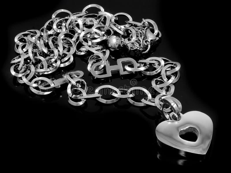 Gioiello d'argento Collana del cuore Acciaio inossidabile fotografie stock libere da diritti