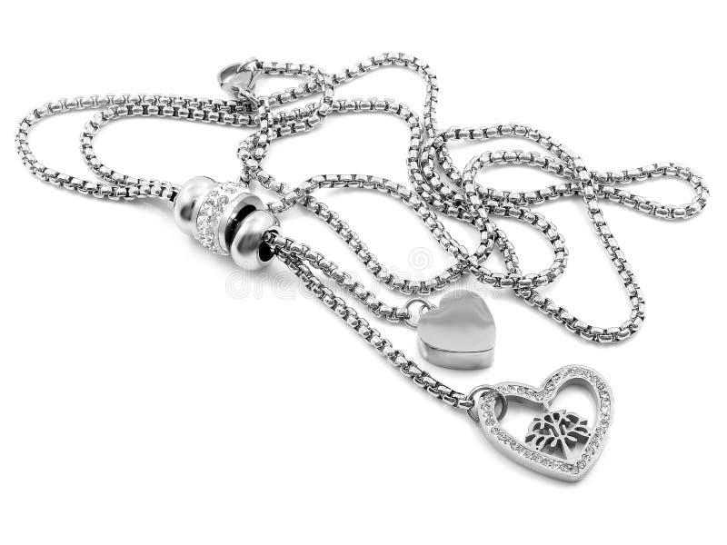 Gioiello d'argento Collana del cuore Acciaio inossidabile fotografie stock