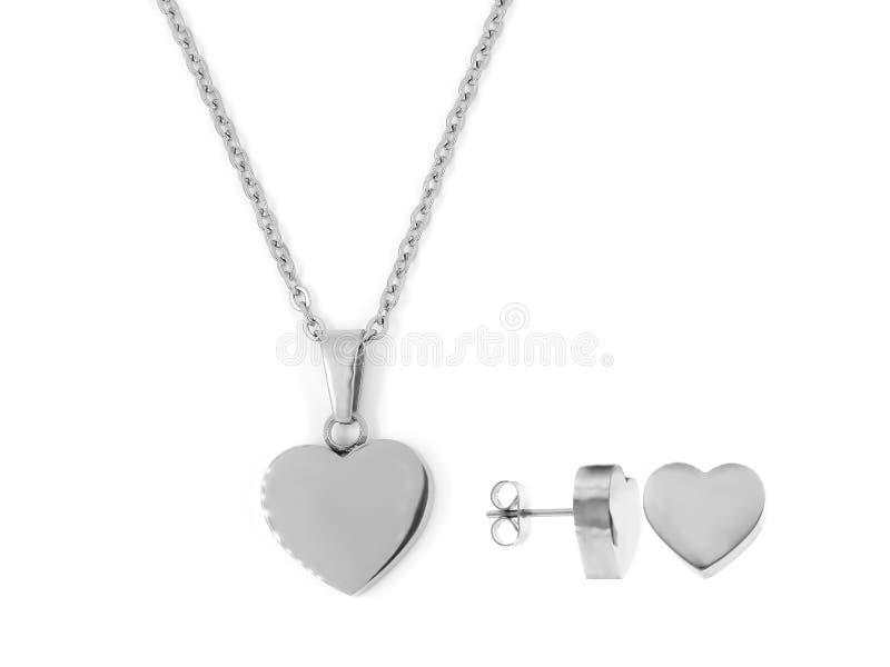 Gioiello d'argento Collana del cuore Acciaio inossidabile fotografia stock