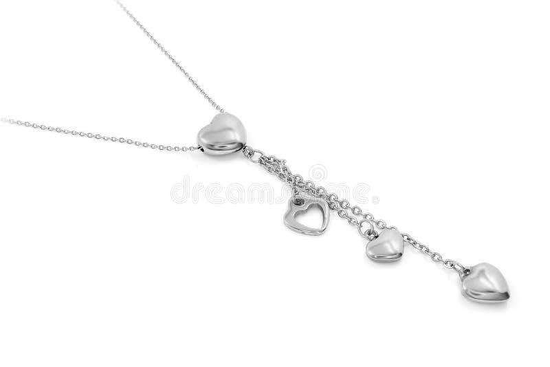 Gioiello d'argento Collana del cuore Acciaio inossidabile immagine stock libera da diritti