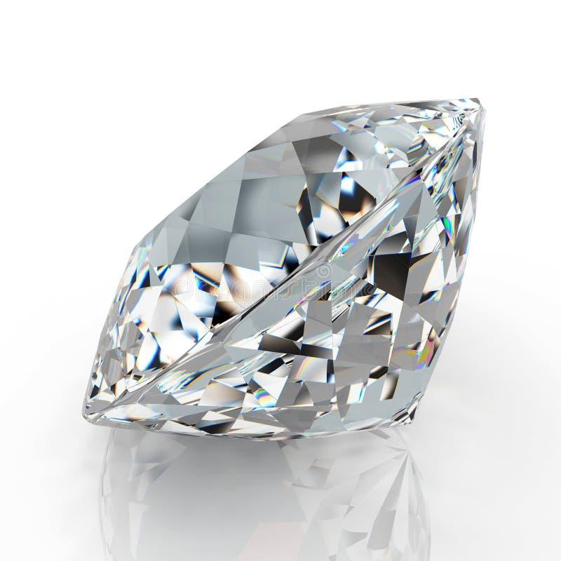 Gioiello del diamante dell'immagine su fondo bianco Bella immagine brillante scintillante dello smeraldo di forma rotonda 3D rend illustrazione vettoriale