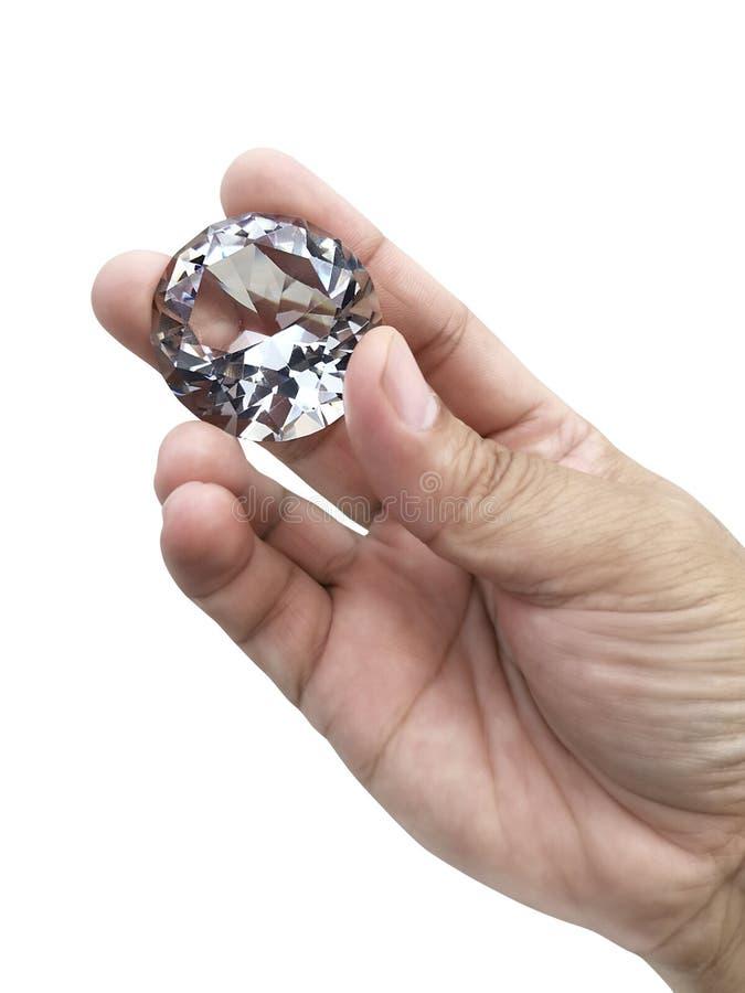 Gioiello del diamante a disposizione, isolato su fondo bianco fotografia stock libera da diritti