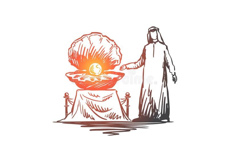 Gioiello, perla, proprietà, musulmano, concetto di lusso Vettore isolato disegnato a mano illustrazione di stock