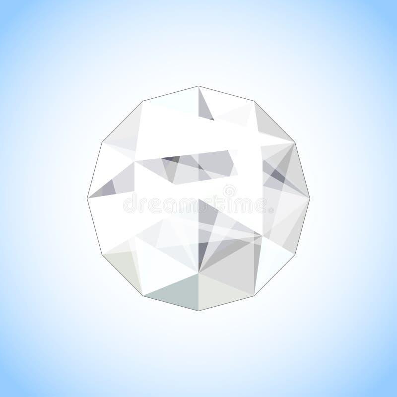 Gioiello realistico del diamante a forma di Illustrazione della gemma di vettore royalty illustrazione gratis
