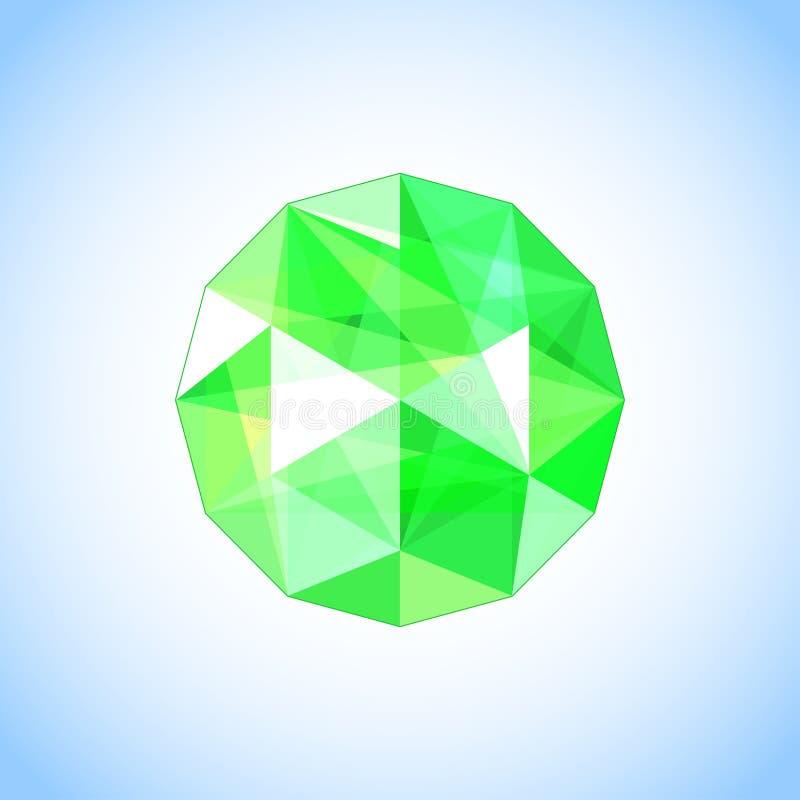 Gioiello verde smeraldo realistico a forma di gemma Illustrazione di vettore illustrazione di stock