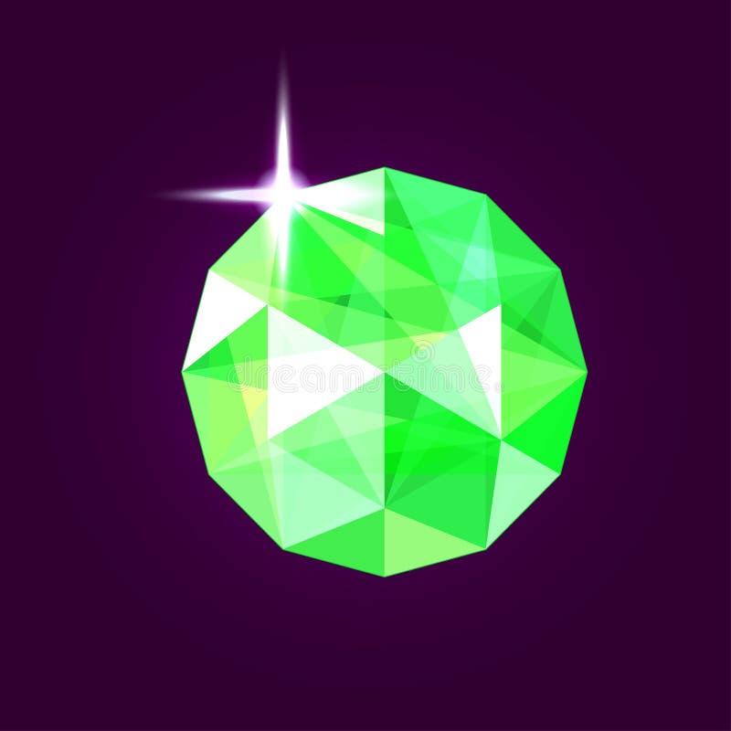 Gioiello verde smeraldo realistico gemma Illustrazione di vettore illustrazione vettoriale