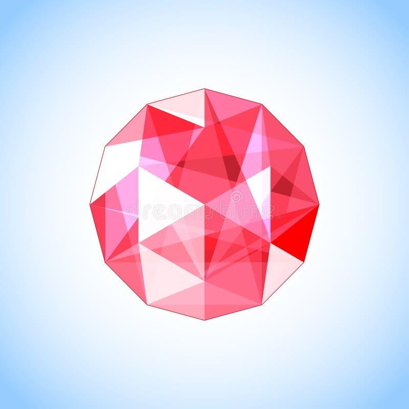 Gioiello vermiglio realistico della gemma Illustrazione di vettore illustrazione di stock