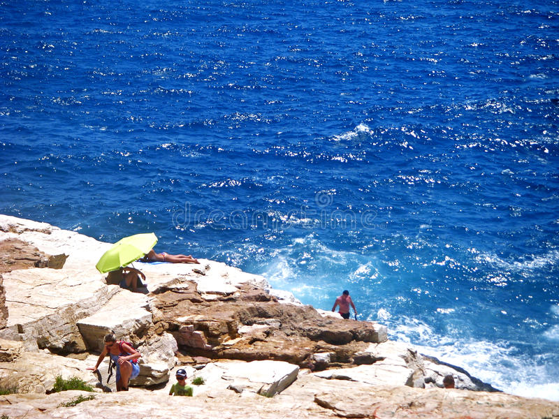 Giola Natural Pool in Thassos island, Greece royalty free stock photography