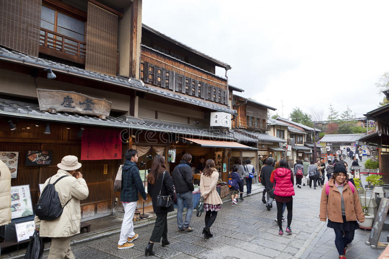 Gion area in Kyoto ,Japan. KYOTO,JAPAN - DEC 6 : Many tourists walk in Gion area in Kyoto Japan on Dec 6,2015. Old Kyoto is a UNESCO World Heritage site royalty free stock image