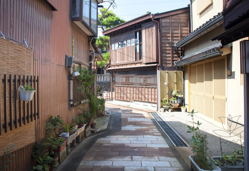 Gion district,Japan. Empty street of the famous district of Gion in Kyoto royalty free stock photo