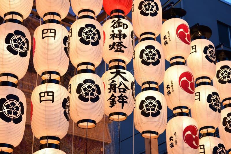 Gion festival`s lantern evening, Kyoto Japan. Picture of Gion festival`s evening. decorated holy floats with lanterns Kyoto Japan summer stock photo