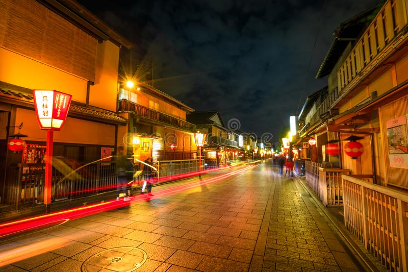 Gion kobu night. Kyoto, Japan - April 24, 2017: light trail by night at Gion district with typical Kaiseki restaurant.Hanamachi is a Japanese geisha district stock images
