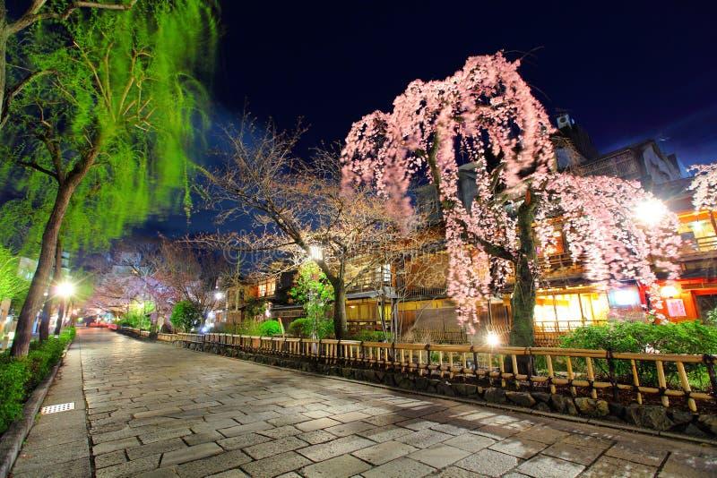Gion in Kyoto. Gion with sakura in Kyoto royalty free stock photos