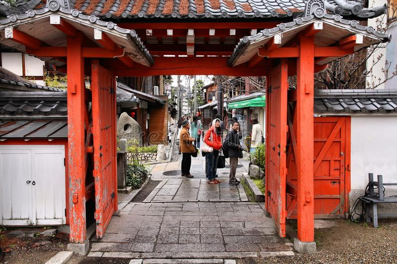 Gion, Kyoto. KYOTO, JAPAN - APRIL 14, 2012: People visit old town of Gion district, Kyoto, Japan. Old Kyoto is a UNESCO World Heritage site and was visited by stock photo