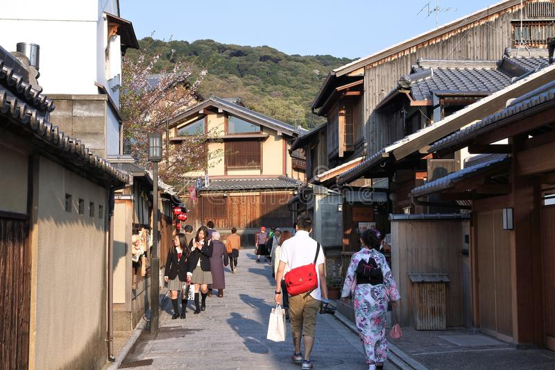 Gion, Kyoto. KYOTO, JAPAN - APRIL 17, 2012: People visit old town of Gion district, Kyoto, Japan. Old Kyoto is a UNESCO World Heritage site and was visited by stock image