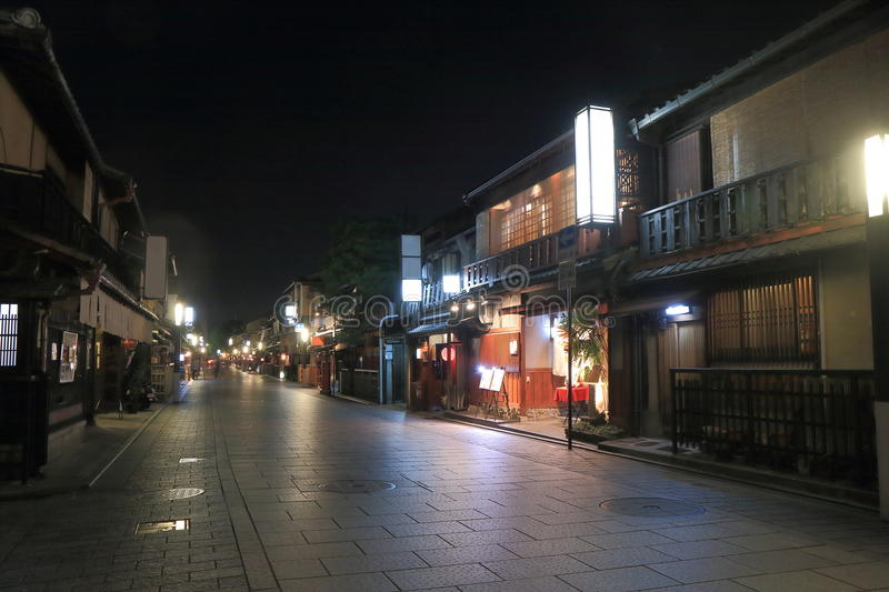 Gion Kyoto historical street. Gion district by night in Kyoto Japan stock photography