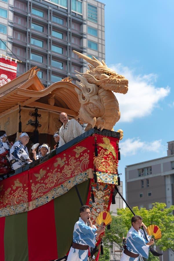 Gion Matsuri Festival, de beroemdste festivallen in Japan stock foto