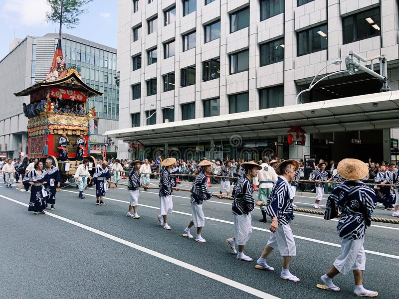 Gion Matsuri festival. Kyoto, Japan - 17 July 2019. Traditional event of Gion Matsuri festival at hot summer day in Kyoto. Background, historic royalty free stock photography