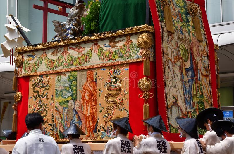 Gion Matsuri festival in Kyoto Japan. Picture of Gion Matsuri`s float with historic art decoration. famous event in summer Kyoto Japan royalty free stock photography
