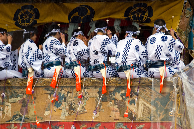 Gion Matsuri I. Details of a colorful Hoko float during a rainstorm in the Gion Festival, Kyoto stock image